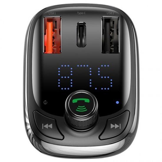 Baseus Зрядно за кола и FM предавател T typed S-13 Black