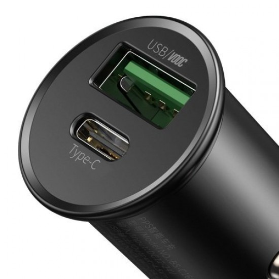 Baseus Зарядно за кола Circular Metal PPS Quick Charger Black