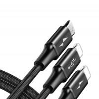 Baseus Кабел за зареждане Rapid Series 3-in-1 Cable 1.2M Black