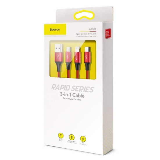 Baseus Кабел за зареждане Rapid Series 3-in-1 Cable 1.2M Red