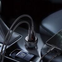 Baseus Зарядно за кола Digital Display PPS Dual Quick Charger Black 1m