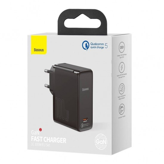 Baseus Адаптер за зареждане GaN2 Fast Charger 100W Set 1.5m Black