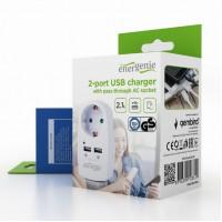 Gembird Двойно USB зарядно с преход на 220V EG-ACU2-02