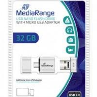 MediaRange USB nano flash drive with micro USB (OTG) adaptor, 32GB