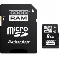 GoodRam  Micro SDHC Card  8GB (Class 4) with SD adaptor
